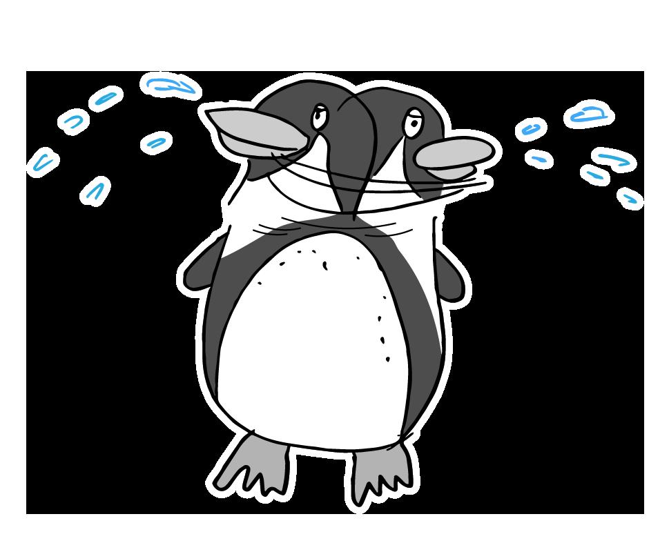 ペンギン塩を吐く